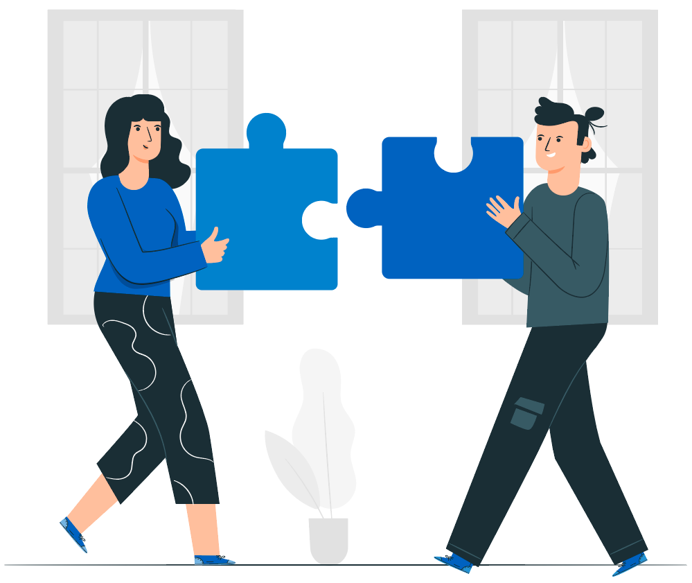 two people with puzzle pieces coming towards each other