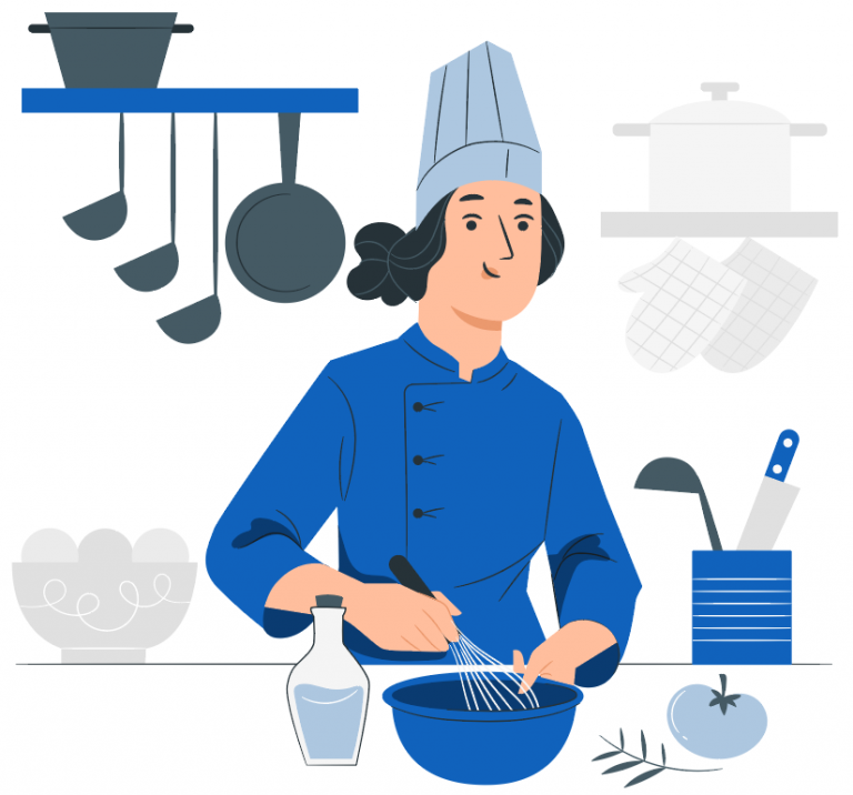 chef in kitchen mixing in a bowl